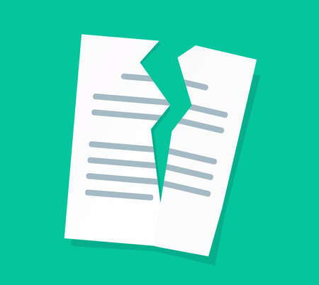 Broken or torn text paper document sheet of file vector flat cartoon icon isolated clipart image