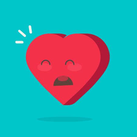 Crying hurt heart face emotion icon or unhappy sadness mood idea vector flat cartoon symbol isolated image