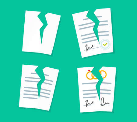 Broken paper legal documents sheets icons set vector, breach of agreement, torn prenuptial marriage contract, idea of law deal termination or cancelation flat cartoon style illustration image