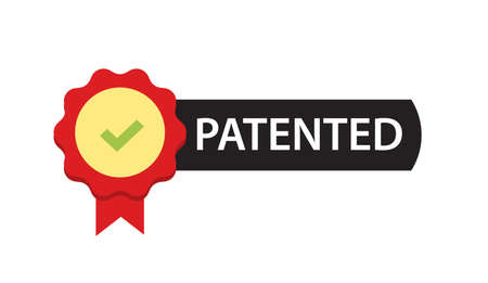Patented label mark vector icon or intellectual property patent protection sign isolated emblem image