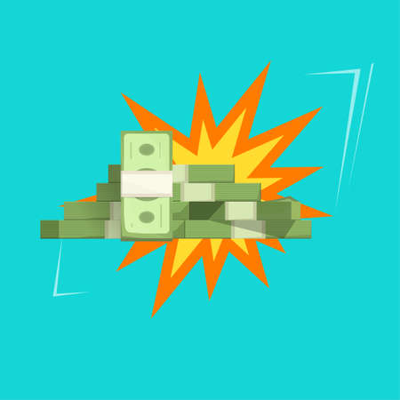 Big money prize win or cash fortune jackpot explosion vector flat cartoon illustration isolated