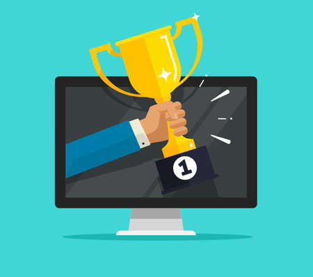 Online internet victory or digital web champion award prize on computer pc competition vector flat cartoon, person man holding first place achievement golden cup on screen, electronic reward or winner