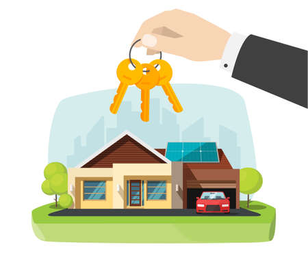 Real estate agent gives new house keys in hand near modern home apartment vector flat cartoon illustration, concept of success buying or selling property owner deal