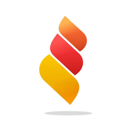 Abstract fire flame as 3 energy gradient red orange elements vector, curve ignite in leaves style symbol, creative trendy modern bonfire logotype template design isolated