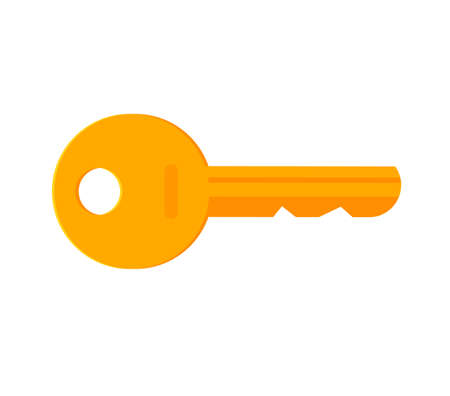 Golden door key icon vector isolated flat cartoon illustration