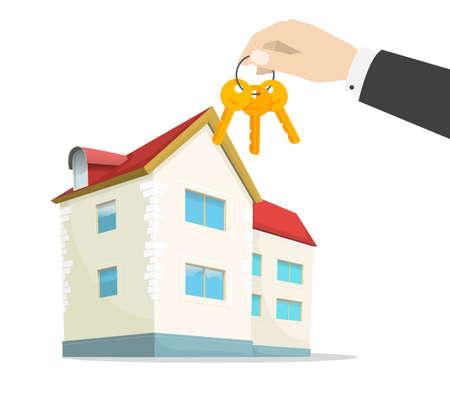 Keys to new house on real estate agent hand near modern home apartment vector flat cartoon illustration 向量圖像