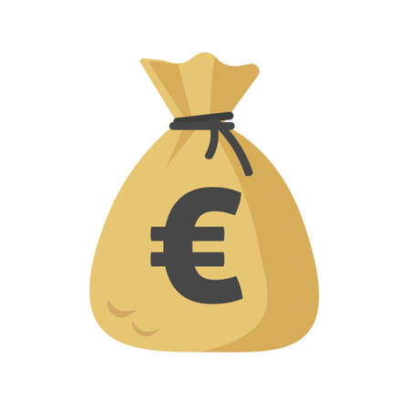 Euro cash sack or money bag icon vector flat cartoon isolated on white sign