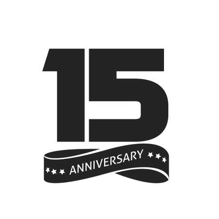 15 years anniversary celebrating vector logo icon, number 15th year birthday label tag black and white stamp or seal sign