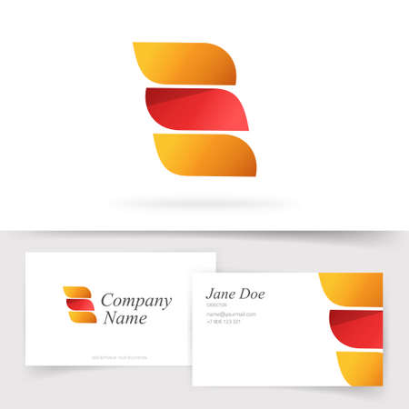 Abstract orange red color logo with 3 gradient elegance leaves elements vector logotype and business visiting card template design, idea of beauty wing shaped curve emblem, colorful geometric symbol 일러스트