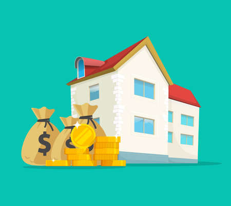 Real estate business money income vector concept or house building expensive taxes idea flat cartoon illustration, home ownership cash investment, budget savings profit or development debt