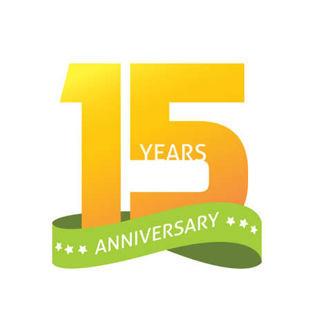 15 years anniversary celebrating vector   icon in yellow orange green color, number 15th year birthday label tag sign isolated