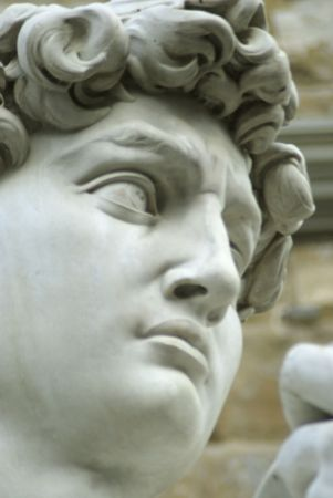 florence: close-up of the david,in florence,in front of palazzo vecchio.