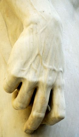 hand of david,made by michelangelo,in frot of palazzo vecchio. Stock Photo