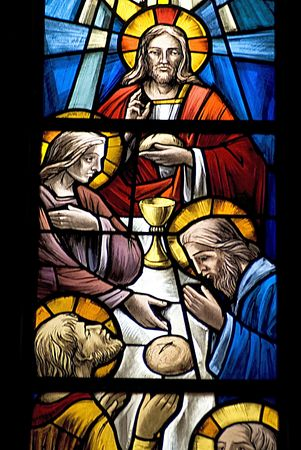 religius escenes in a church of florence.those beutiful glasses are part of the windows.(The church of seven saints)