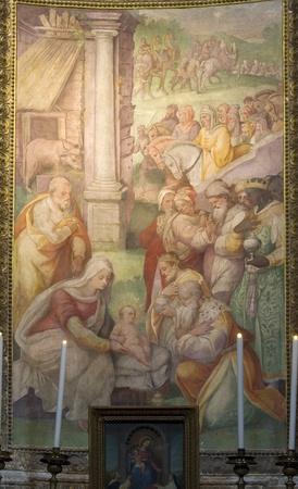 italian fresco: renaissance wall paintings in the city of Rome, Italy. Editorial