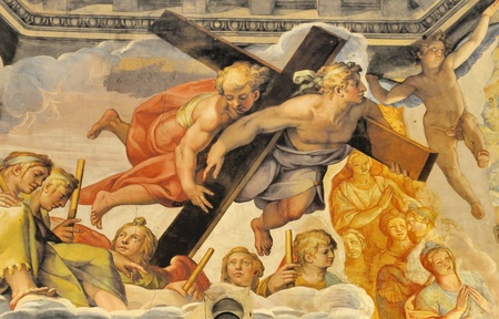 jesus paintings: The Brunelleschis dome in the cathedral of florence, italy. The murals were painted by Giorgio Vasari and Federico Zuccari Editorial