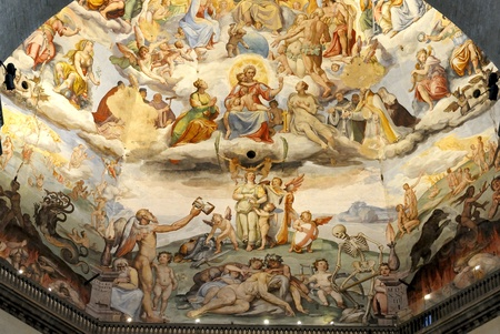 The Brunelleschis dome in the cathedral of florence, italy. The murals were painted by Giorgio Vasari and Federico Zuccari