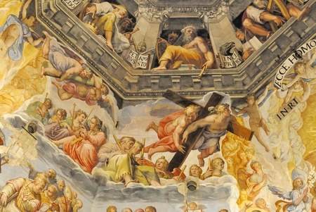 The Brunelleschis dome in the cathedral of florence, italy. The murals were painted by Giorgio Vasari and Federico Zuccari Editorial