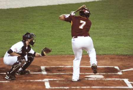 homeplate: Image of the game betwen USA and Venezuela in the baseball worldcup 2009, in florence, italy.The team of USA was the winner of the game,6x3.