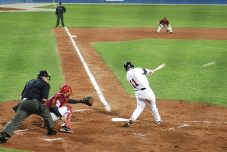 Image of the game betwen USA and Venezuela in the baseball worldcup 2009, in florence, italy.The team of USA was the winner of the game,6x3.   Editorial