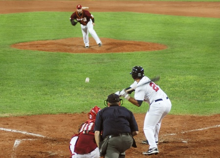 Image of the game betwen USA and Venezuela in the baseball worldcup 2009, in florence, italy.The team of USA was the winner of the game,6x3.  Stock Photo - 9891335