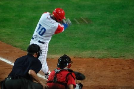Imagen del juego entre Canadá y Cuba en la Copa del mundo de béisbol. .Cuba fue el ganador, 5 x 1 y el pase a la final con Estados Unidos. Foto de archivo - 9891323
