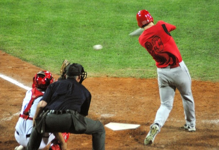 Image of the game betwen Canada and Cuba in the baseball worldcup. .Cuba was the winner,5x1,and pass to the final with USA. Stock Photo - 9891344