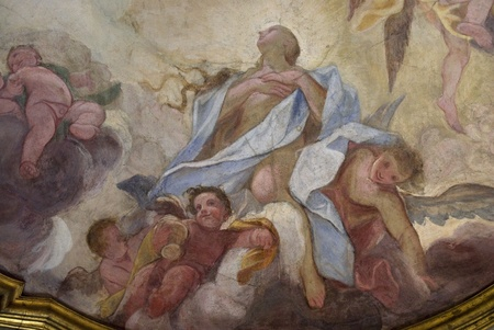 italian fresco: renaissance wall paintings in the city of Florence, Italy. Editorial