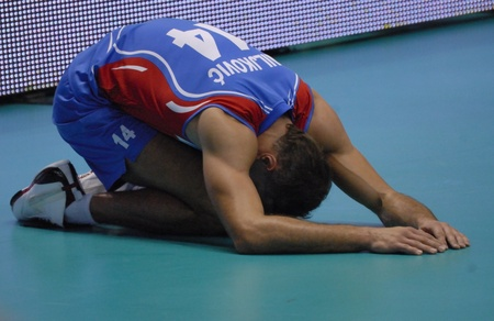 National Team of Serbia defeated  to Russia, three sets to one, in the XVII World Volleyball Championship, which takes place in several cities in Italy.in the picture,Milkovic,from serbia