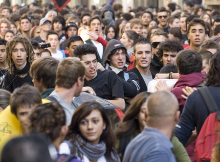 8 october 2010,Florence,Italy. Students protest against the new law of the public instruction.