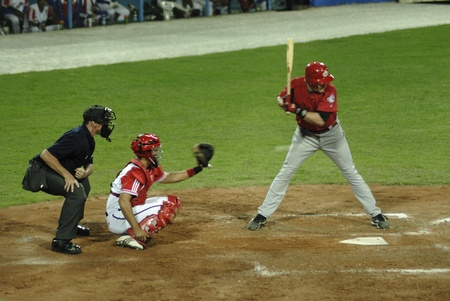 Image of the game betwen Canada and Cuba in the baseball worldcup. .Cuba was the winner,5x1,and pass to the final with USA.