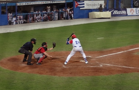 Image of the game betwen Canada and Cuba in the baseball worldcup. .Cuba was the winner,5x1,and pass to the final with USA. Stock Photo - 10007936
