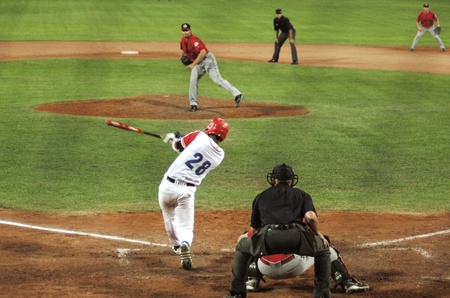 Image of the game betwen Canada and Cuba in the baseball worldcup. .Cuba was the winner,5x1,and pass to the final with USA. Stock Photo - 10007942