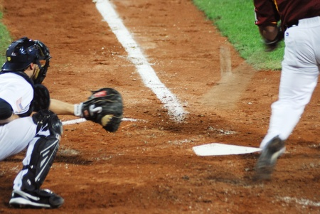 homeplate: Image of the game betwen USA and Venezuela in the baseball worldcup 2009, in florence, italy.The team of USA was the winner of the game,6x3.  Editorial