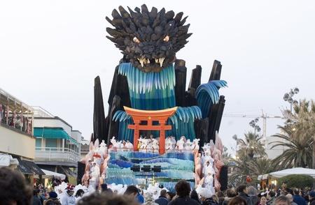 allegoric: VIAREGGIO, ITALY - MARCH 4  One of the carnival floats in the famous carnival of Viareggio, on March 4, 2012, in Viareggio, Italy