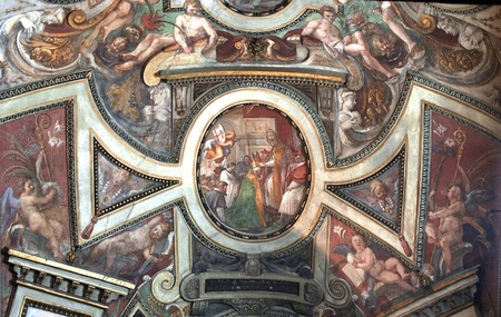 medieval mural paint in a church of italy