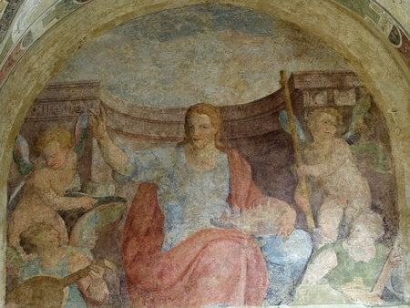 medieval mural paint in a church of Pistoia