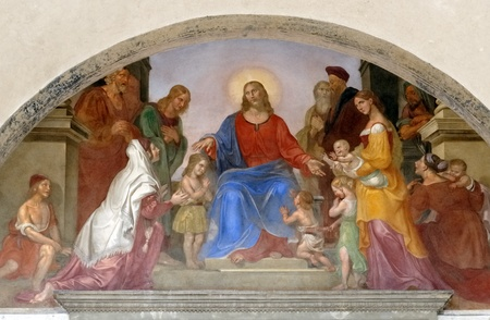 jesus paintings: religious mural in  Florence  Editorial