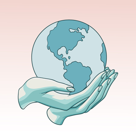 Two hands holding the planet  Earth. Flat cartoon vector illustration on a pinkbackground. Can be used like a poster, symbol or icon for Earth day or Peace day or others.