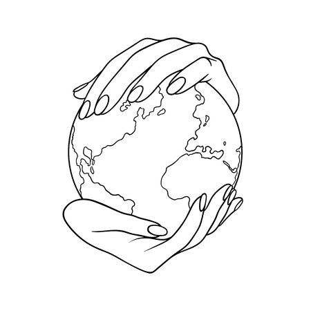 Two hands holding the planet Earth. Lineart vector illustration without backgrond. Can be used like a poster, symbol or icon for Earth day or Peace day or others.