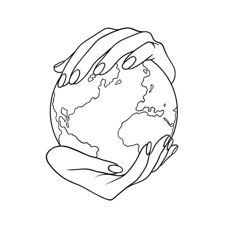 Two hands holding the planet  Earth. Lineart  vector illustration without backgrond. Can be used like a poster, symbol or icon for Earth day or Peace day or others. Zdjęcie Seryjne - 111297484