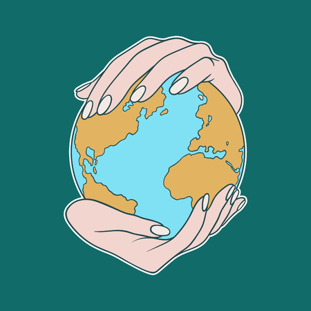 Two hands holding the planet  Earth. Flat cartoon vector illustration on a blue background. Can be used like a poster, symbol or icon for Earth day or Peace day or others. Ilustracja