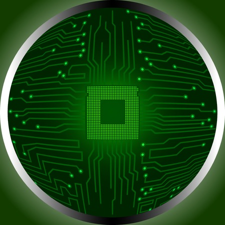 circumference: cpu circuit, board, chip in circumference, isolated backdrop