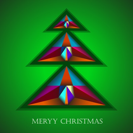 colorfully: Christmas tree in colorfully decorated.Abstract background. Vector illustration