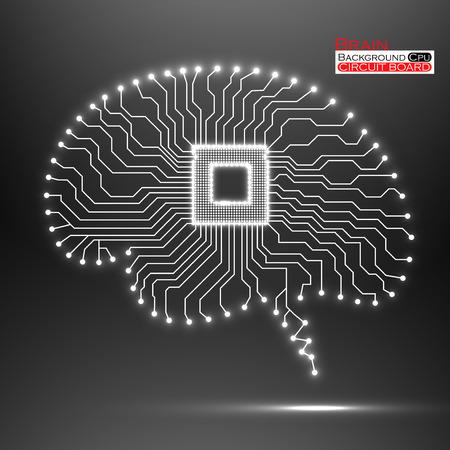 Brain. Cpu. Circuit board. Vector illustration.  Vector