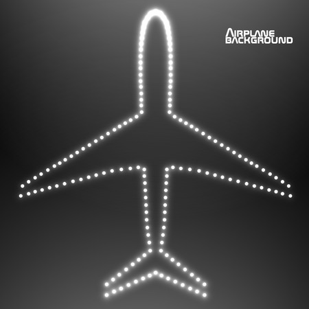 air liner: Glowing contour airplane. Vector illustration.