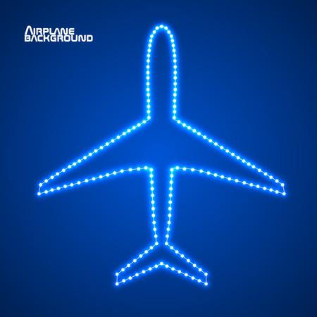 contour: Glowing contour airplane. Vector illustration.