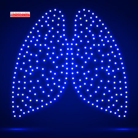 Neon human lung. Vector illustration.  Vector