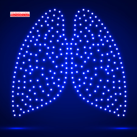 human lung: Neon human lung. Vector illustration.