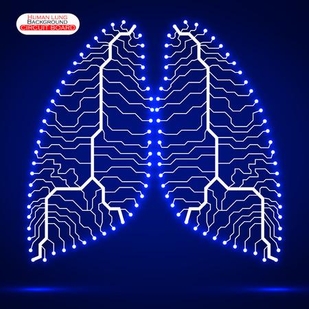 human lung: Neon human lung. Circuit board.